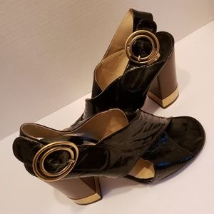 Chloe black patent leather saddles sz 38 1/2